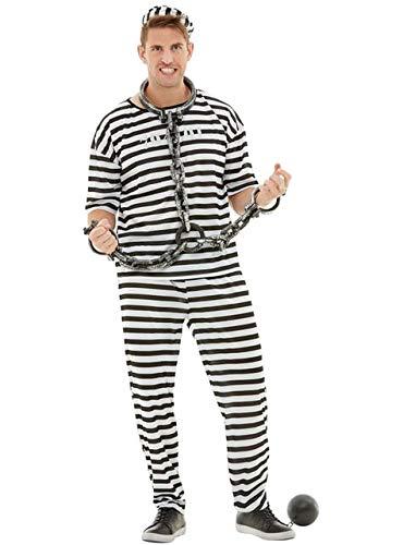 Funidelia | Disfraz de Prisionero para Hombre Talla S Ladrn, Preso, Delincuente, Profesiones - Negro