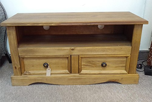 Four Seasons- TV Television Stand Media Storage Unit Waxed Pine Distressed With 2 Drawers Cabinet