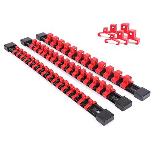 Casoman Steckschlüssel-Organizer, SAE und metrischer Stecknuss-Halter, 6,35 mm Antrieb x 16 Clips, 3/8 Zoll Antrieb x 15 Clips, 1,27 cm Antrieb x 12 Clips, Premium-Qualität Steckschlüsselhalter (rot)