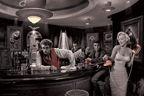 Java Dreams with James Dean Marilyn Monroe Elvis Presley and Humphrey Bogart by Chris Consani Art Print Poster 36'x24'