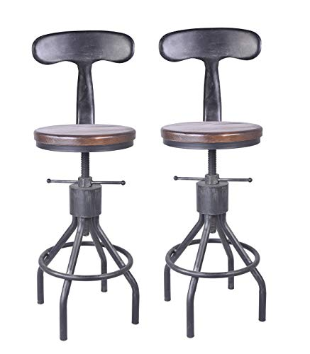 LOKKHAN Set of 2 Industrial Bar Stool-Adjustable Swivel Wood Metal Bar Stool-Counter Height to Extra Tall Farmhouse Bar Stool-24-30 Inch Seat Height-with Backrest
