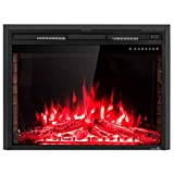 Tangkula Electric Fireplace Insert 36', Smokeless 750W-1500W Electric Stove Heater with Remote Control and Adjustable Time Setting for Home Use, Colorful Flame Option Wall Mounted Heater, Black