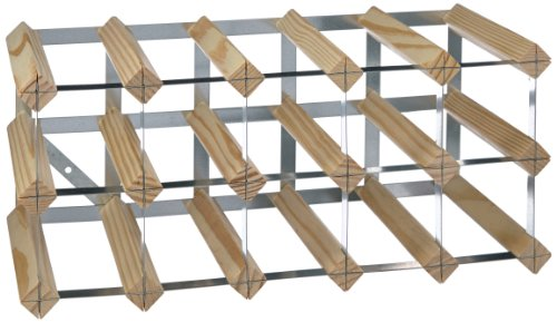 15-Bottle Ready-to-Assemble Wine Rack - Natural Pine  Galvanised Steel