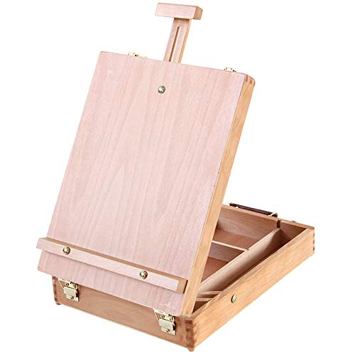 HaavPoois Chevalet de Boîte de Table en Bois, Cuir Pliable Amovible en Bois Art Planche à Dessin Table de Travail en Toile Croquis Chevalet avec Pieds Antidérapants pour Peinture