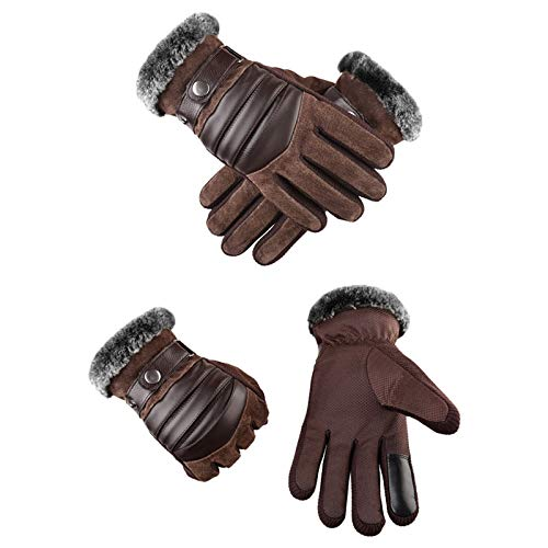 Men's Windproof Waterproof Bicycle Pigskin Slip Plus Velvet Thickening Gloves for Skiing Camping Hiking Running Biking Driving