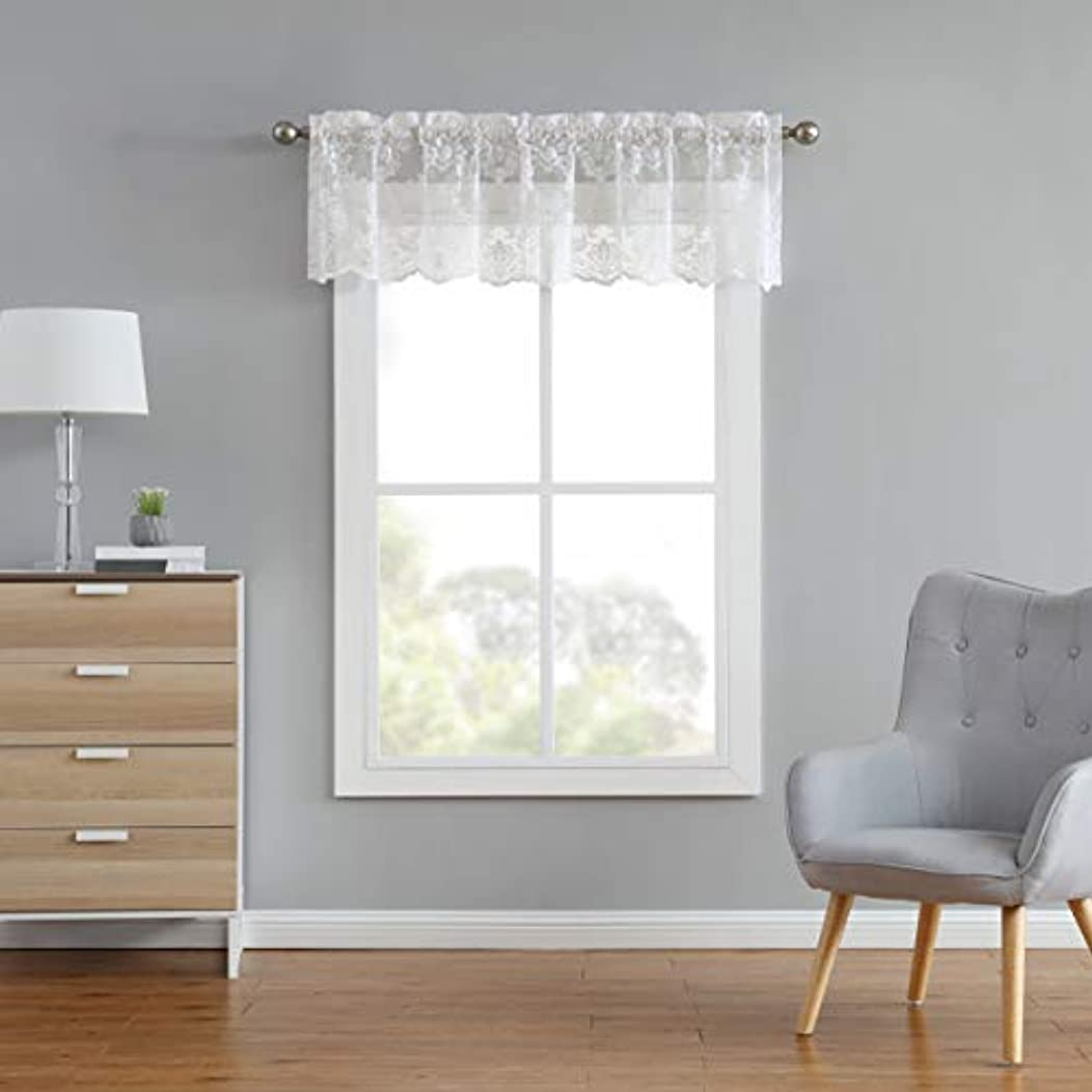 LinenZone Fiona Knitted Lace Valance Medallion Design with Scalloped Bottom - Size 60 Inch Wide - 18 Inch Long - Rod Pocket (1 Valance 60 X 18, Ivory)