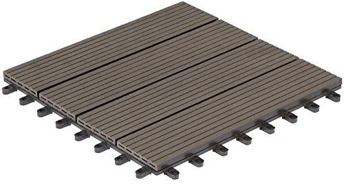 Gartenfreude 30 x 30 cm 0.54 m sq WPC Holle profiel Decking Tegels - Donker Grijs (6-delig)