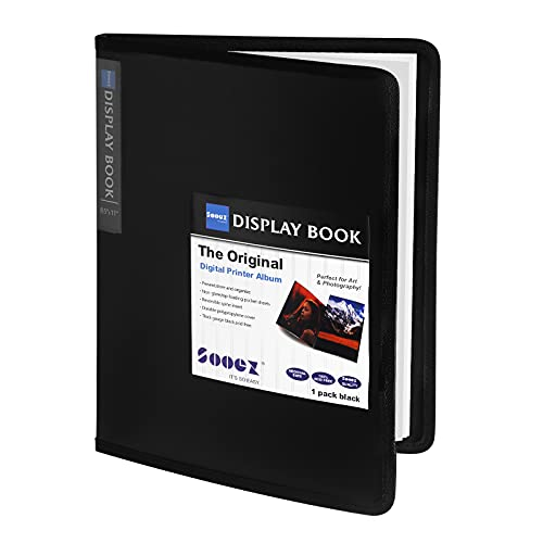 """Sooez 30-Pocket Binder with Plastic Sleeves, Heavy Duty Art Portfolio Folder with Clear Sheet Protectors, Display 60 Pages of 8.5x11"""", Presentation Book for Artwork, Sheet Music, Document"""