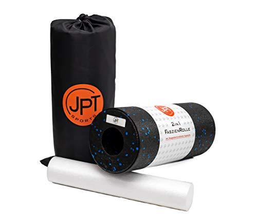 JPTsports 2in1 Faszien-Rolle inkl. eBook & praktischer Tragetasche | hochwertige Massagerolle für Rücken, Beine, Wirbelsäule | Foam-Roller für Faszien-Training (Schwarz/Blau)
