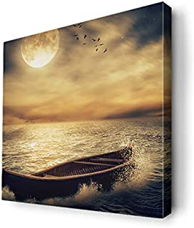 Canvas Arts for Wall, Design of Boat in The Seat Sunset and Under The Moonlight, Canvs20-180118, Blue Void/Clear