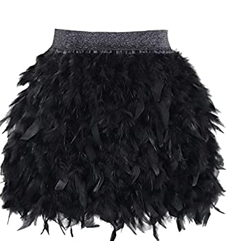L VOW Women s Sexy Mid Waist Mini A-line Feather Skirt for Party Wedding Halloween  Black L