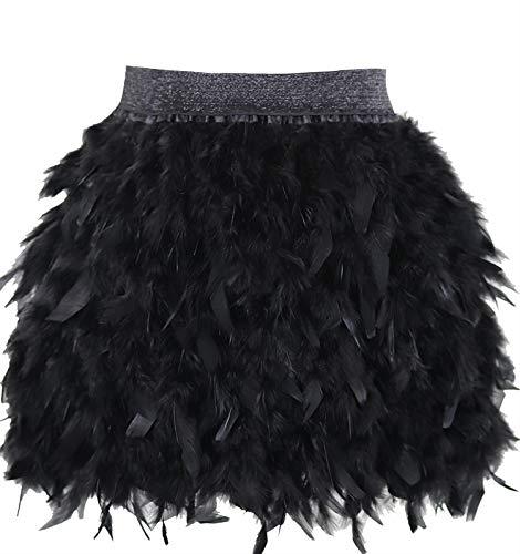 L'VOW Mujer Sexy Cintura Media Mini línea A Falda de Naturales Plumas para Fiesta de Bodas de Halloween (Negro, S)