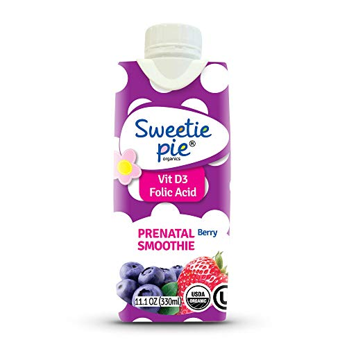 Sweetie Pie Organics Prenatal Vitamins with DHA and Folic Acid and VIT D3 Supplement Smoothie Shake for Women - Pregnancy, Postpartum Essentials Smoothie Berry Flavor 12 ct