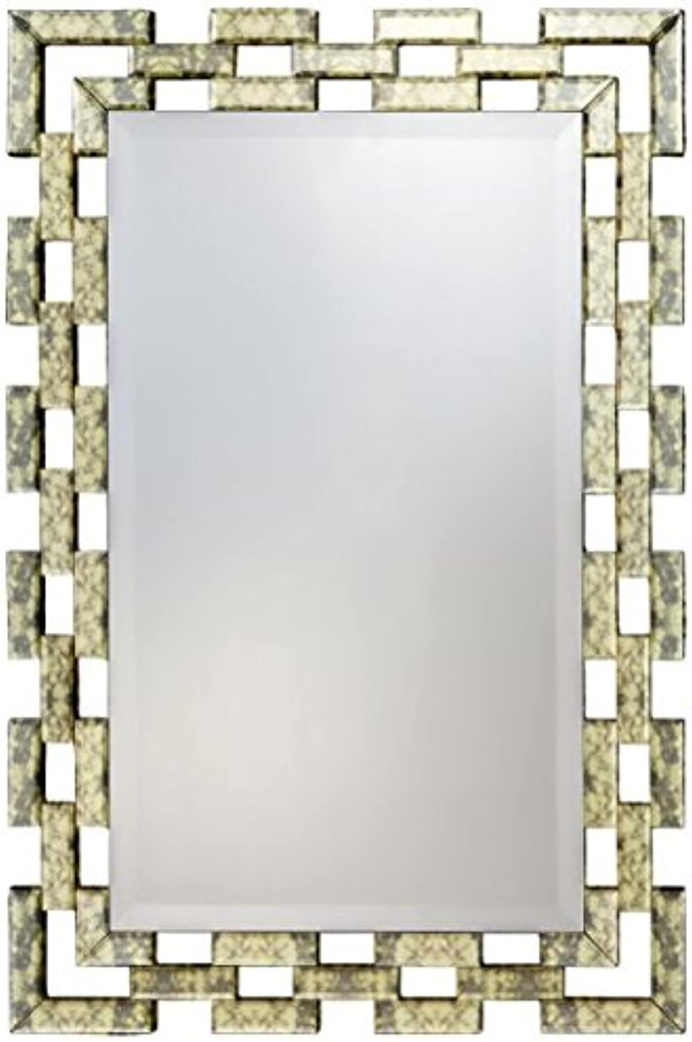 Sydney Mirror, Square Decorative Wall Mirror, Antique gold, 4 D-Ring Hangers, Hanging Horizontally Or greenically, MDF, Beveled, 36 inch X 24 inch, Modern Décor for Bedroom, Living Room Or Bathroom.