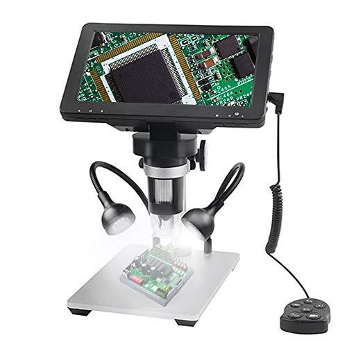 S SMAUTOP Microscopio Digital 7 Pulgada 1200X 12MP Cámara 8 Luces LED Profesional Portátil Endoscopio Electrónico Recargable con Controlador de Cable para Investigación Científica, Soldadura (Cámara)