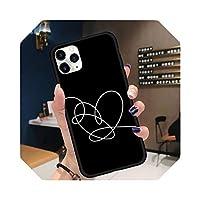 ブラックシンプルラインズラブハートフォンケースforfor iPhone 11 12 pro XS MAX 8 7 6 6S Plus X 5S SE 2020 XR-a13-7plus or 8plus