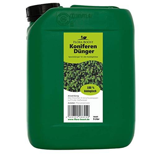 Flora Boost Koniferen Thuja Tannen Dünger 5 Liter - Für Einzelpflanzen und Hecken - Kräftigere Wurzeln und Wachstumsförderung