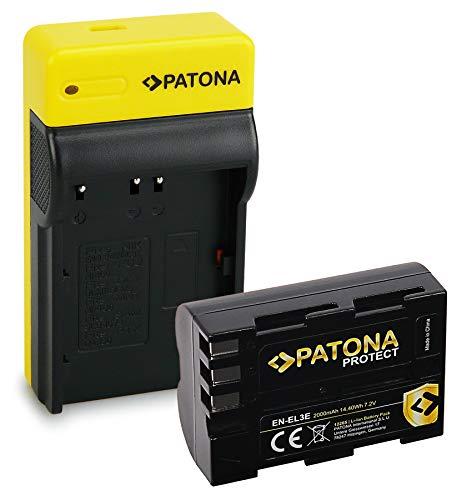 PATONA Estrecho Cargador con Protect Bateria EN-EL3E, Carcasa V1 Compatible con Nikon D700 D300 D200 D100 D80