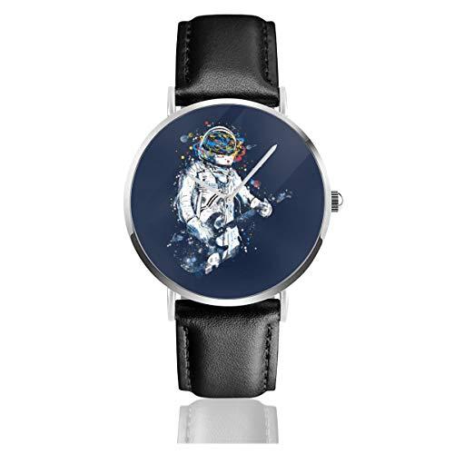 Unisex Business Casual Astronauten Gitarre Uhren Quarz Leder Uhr mit schwarzem Lederband für Männer Frauen Junge Kollektion Geschenk