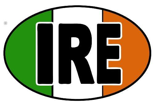 IRE autocollant irish flag bumper stickers ireland oval 127 x 76 mm