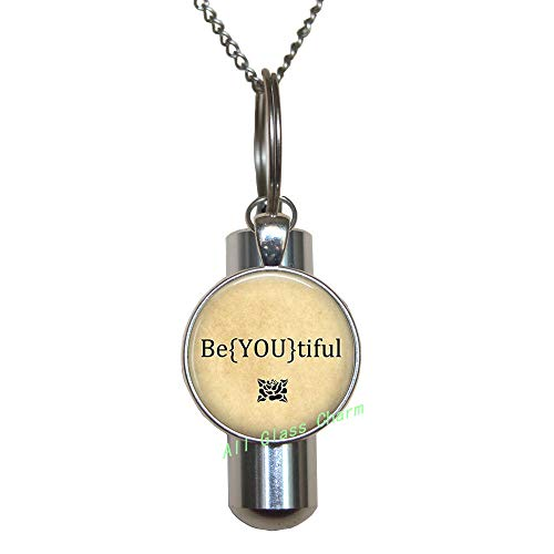 AlloGlassoO0Charm Collar con urna de cremación Be YOU tiful URN – You are beautiful – Inspirational Jewelry-Be Yourself Down Syndrome Beauty,AS0284