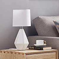 Ambimall Modern Ceramic Small White Table Lamp