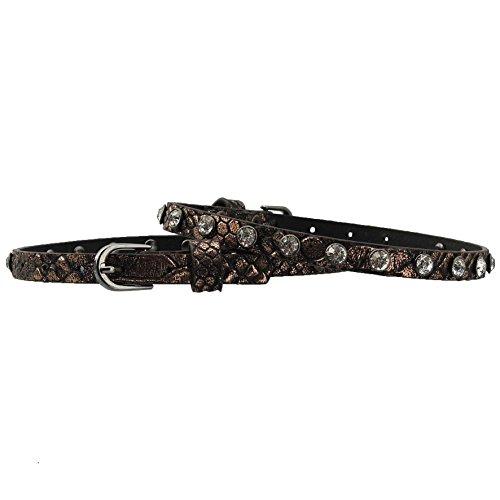 GlamIt Fashion 1 Paar schmale Stiefelbänder in Reptiloptik mit Metallic-Finish und Strass-Nieten – in 4 Farben erhältlich (bronze)