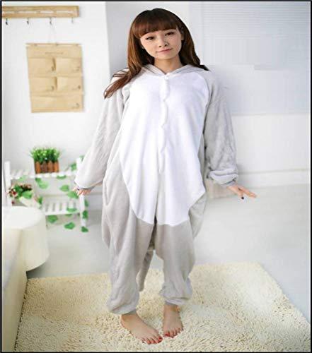 Unisex pyjama Volwassenen Animal Onesies verwerking flanel grijze olifant cartoon eendelig pyjama, JUSTTIME Large olifant
