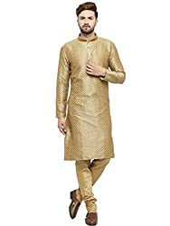 Larwa Mens Jacquard Kurta Pyjama Set Gold Special for Diwali