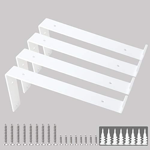 """Shelf Brackets 12 Inch Z Brackets 4PCS White Wall Bracket with Lip for Shelves Rustic Iron Metal Shelf Bracket for DIY Open Shelving Fit 11-1/4"""" Width Board Hardware Included"""