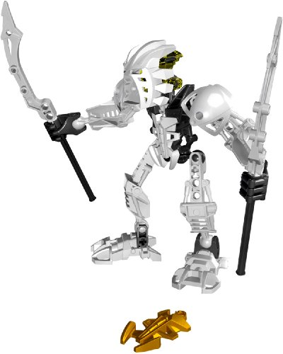 """Lego Bionicle Stars """"Collect the Golden Bionicle"""" Series Figure Set # 7135 - White PIRAKA with Twin Light Staffs and the"""