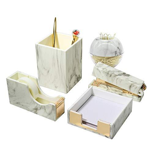 Marble Office Supplies Set Marble Gold Desk Organizers Set with Pen Holder Stapler Paper Clips Magnetic Holder Sticky Notes Pad Holder Tape Dispenser for Office Home School Gift 5 Packs