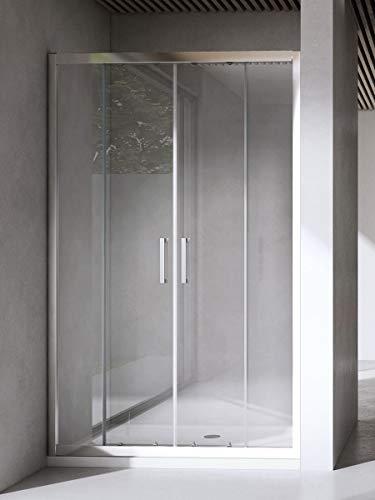 Yellowshop - Mampara de ducha con puerta corredera de vidrio templado de 6 mm, transparente o puntillado, disponible en varias medidas, transparente