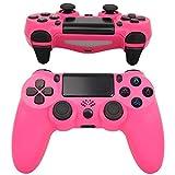 QLOVE Mando PS4, Mando Inalámbrico, con Vibración Doble Remoto Compatible para Playstation 4/Pro/Slim Gamepad Wireless Bluetooth Controlador Joystick,Rosado
