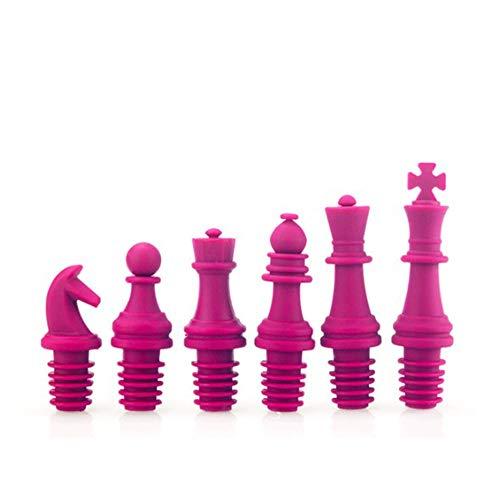 Tappi per Vino 6Pcs silicone del commestibile di scacchi del vino del tappo della bottiglia riutilizzabile tappi di birra Sealer copertina 4 colori Il Miglior Regalo per Gli Amanti del Vino