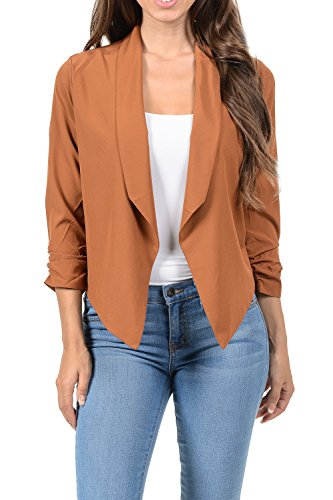 Auliné Collection Womens Casual Lightweight 3/4 Sleeve Fitted Open Blazer Camel Medium