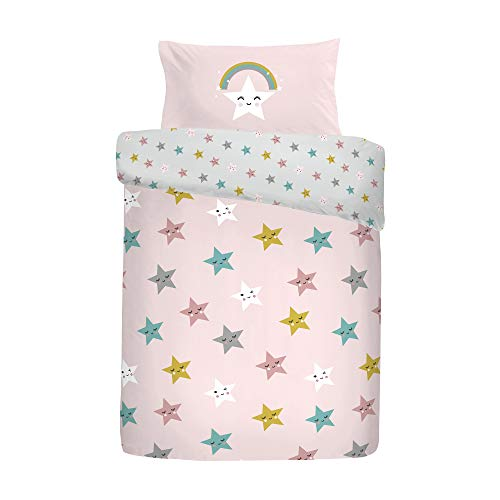 Cosatto: 100% Cotton Cot Duvet Cover and Pillowcase Set - 90cm x 120cm (Happy Stars - Pink)