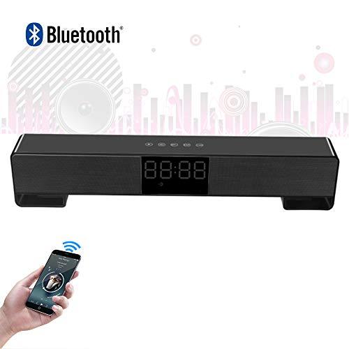 Speaker-EJOYDUTY Soundbar für Laptop, mit Wecker, LED-Anzeige, tragbarem drahtlosem 10-W-Bluetooth-Lautsprecher, für PC-Tablets, Handy