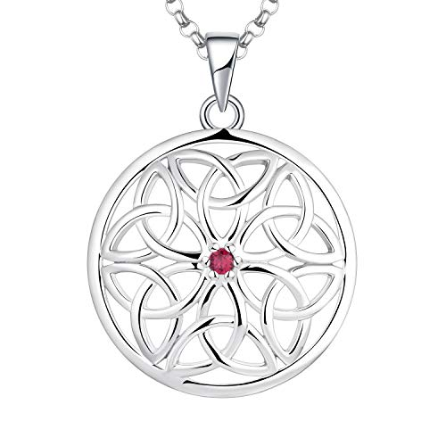 JO WISDOM Celtic Knot Necklace,925 Sterling Silver Irish Triquetra Celtic Knot Pendant Necklace with AAA Cubic Zirconia July Birthstone Created Ruby,Jewelry for Women