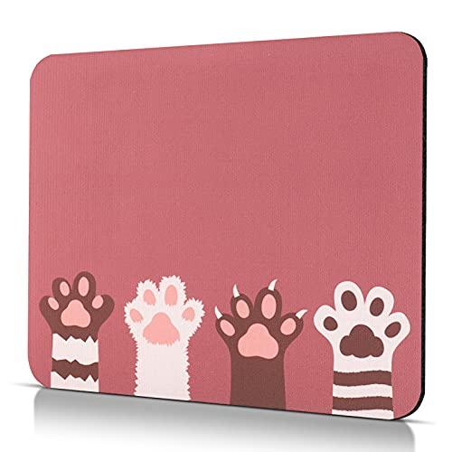 CHUQING Tappetino per il mouse piccolo, misura S, 24 x 20 cm, con motivo per PC, computer e laptop, antiscivolo, motivo: zampa di gatto
