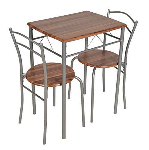 ts-ideen 3er Set Essgruppe Esstisch Küchentisch Tisch Stühle platzsparend Alugestell in Silber und Nussbaum-Optik 59 x 44 cm für die Küche Esszimmer Studentenwohnung