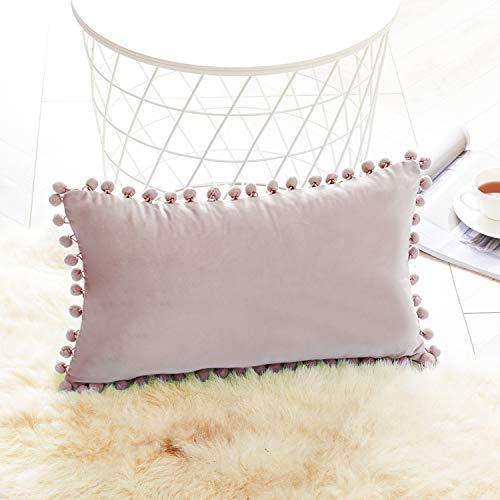 Topfinel Blush Pink Oblong Cushion Covers 12x20 Inch Velvet Soft Decorative Throw Pillowcase for Office Sofa Bedroom 30cmx50cm,1 Piece