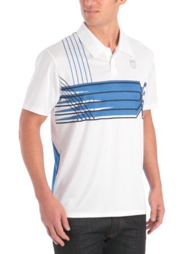 K-SWISS - Camiseta de pádel para Hombre, tamaño XL, Color Blanco/Strong Azul