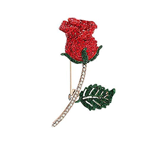 DAGONGREN Tono de Las Mujeres Rosa roja Flor cristalina Esmalte Broche del Rhinestone Rojo de Oro (6.8 * 4 cm)