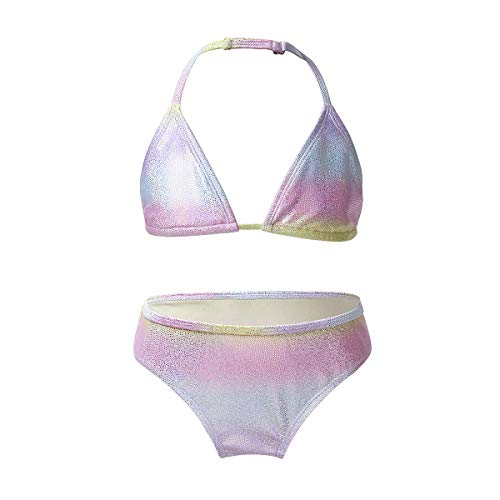 iiniim Tankini Sirena Color Degradado para Niña Traje de Baño Bikini Brillante Conjunto de 2 Piezas Bañador para Niñas Adolescentes 7-16 Años Plateado 10-12 años