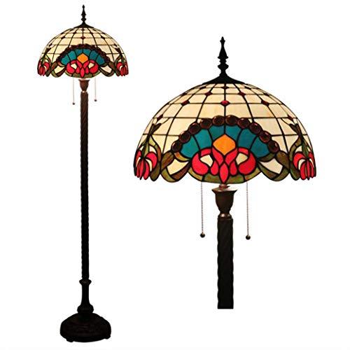 GJX Terra stijl Tiffany wandlamp wandlamp gemaakt van gekleurd glas 16 inch met trekschakelaar, Retro Europea verlichting met sokkel gemaakt van zink E27 Max40W