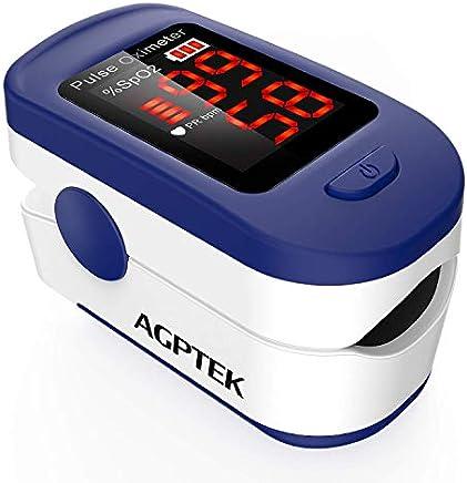 AGPTEK Oxímetro de Pulso, Pulsioxímetro de Dedo Digital con Pantalla LED, Lectura Instantánea, Aprobado por FDA&CE, Color Azul