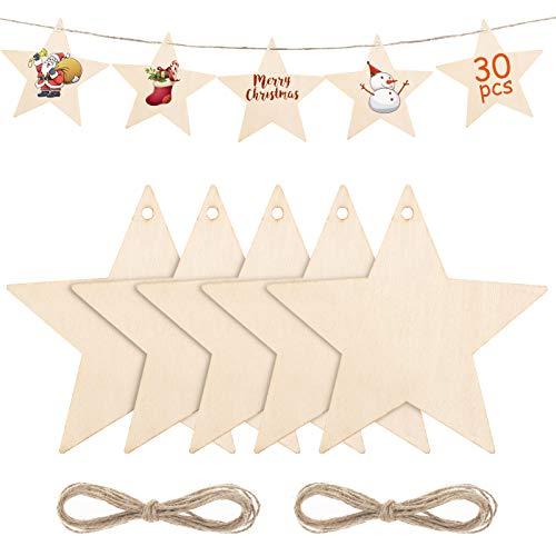 Kiiwah 30 Stück Holz Stern Weihnachtsbaum Deko zum Aufhängen, Weihnachten Holzanhänger zum DIY Basteln Bemalen für Weihnachtsschmuck Geschenkanhänger