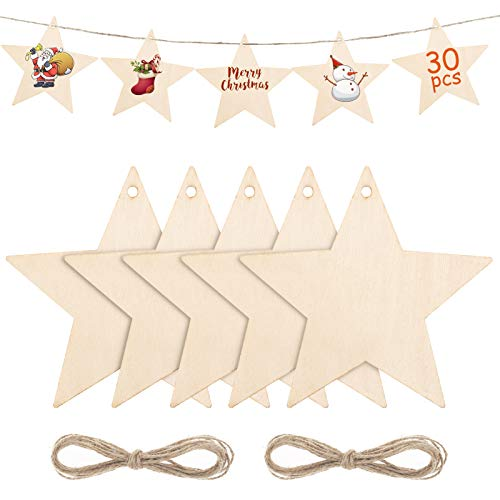 Kiiwah 30pcs Christmas Wooden Star Ornaments, Wood Stars Embellishments with Twine for Xmas Tree Decorations & Christmas Craft Supplies (Stars)