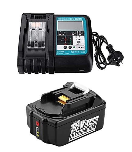 18V 5.0Ah Battery and Rapid Charger DC18RC with LED Replacement for Makita Job Site Radio DMR109 DMR109W DMR108 RMB100 BMR107 DMR106 DMR112 Speaker DMR200 DMR202 LXT Li-Ion Battery